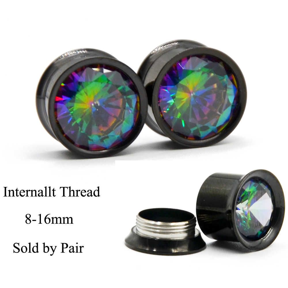 PAIR Colorful Aurora Zircon Double Flared Ear Plugs Internally Thread Ear  Plugs Tunnels Expander Stretcher Body
