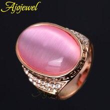 Ajoдрагоценность красивый розовый опал большие кольца с камнями для женщин мужчин коктельное кольцо ювелирные изделия