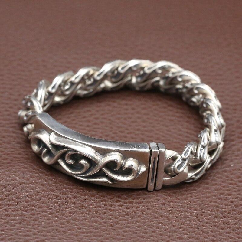 купить NEW! Vintage 925 Silver Bracelet Sterling Silver Lucky Symbol Link Bracelet Pure Silver Man Bracelet Jewelry Gift онлайн