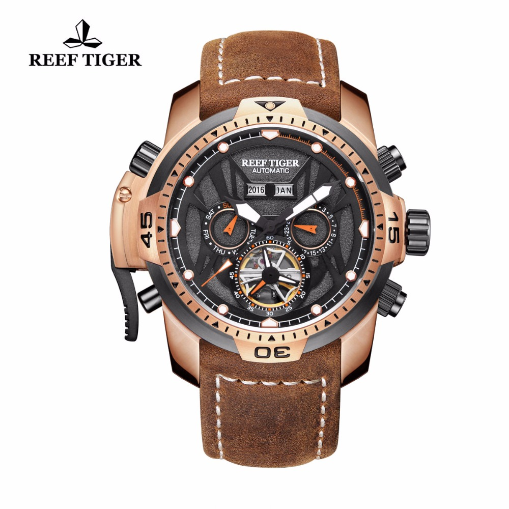 Reef Tiger/RT Gent Automatic Watches Brown Calfskin Strap Complicated Dial Multi-functional Sport Watches RGA3532 Переносные часы