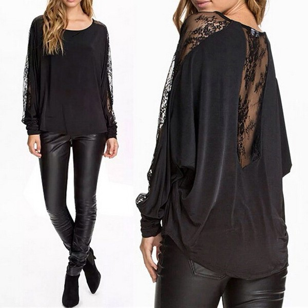 Zanzea 2017 Womens Hollow Lace Patchwork Long Batwing Sleeve Blouse Shirt Ladies Casual Solid Loose Tops Plus Size S-3XL Blusas