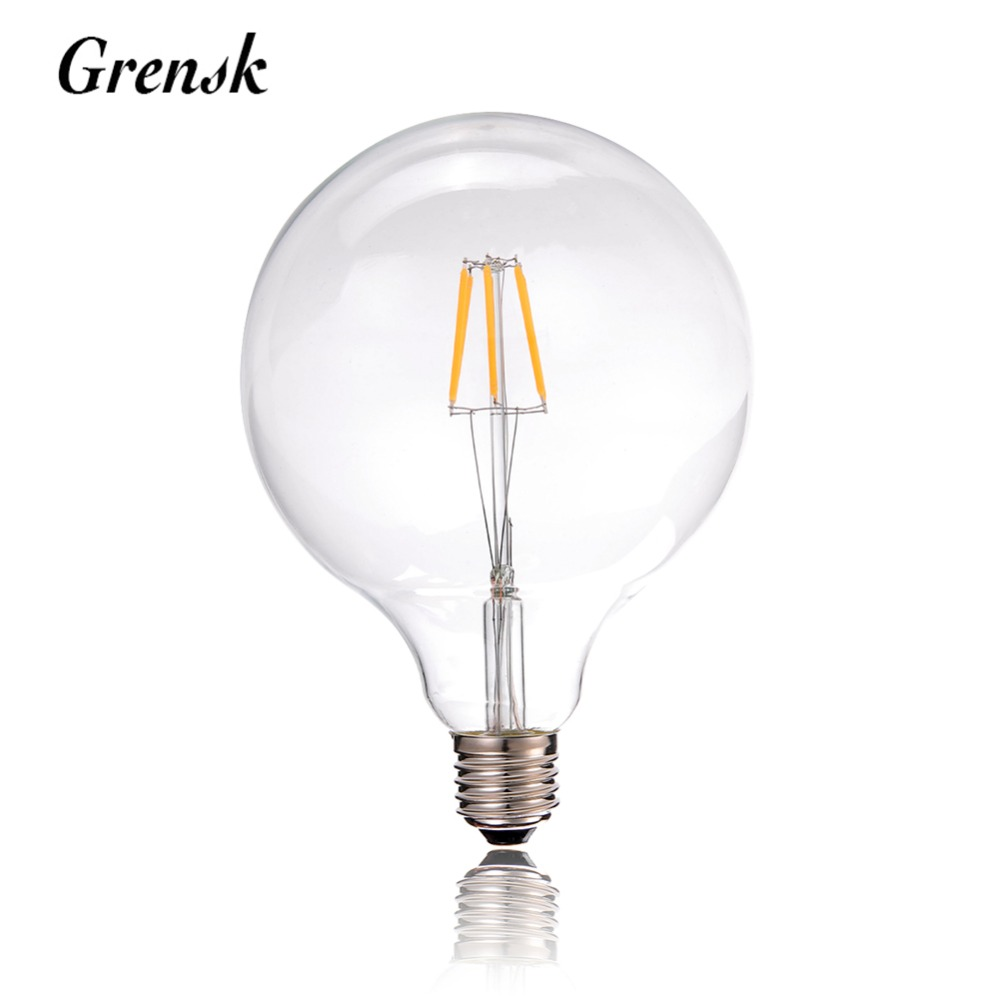 G125 Clear Globe Lamp,6W,Edison LED Filament Light Bulb,E27 220VAC,Chandelier Pendant Lamp,Dimmable