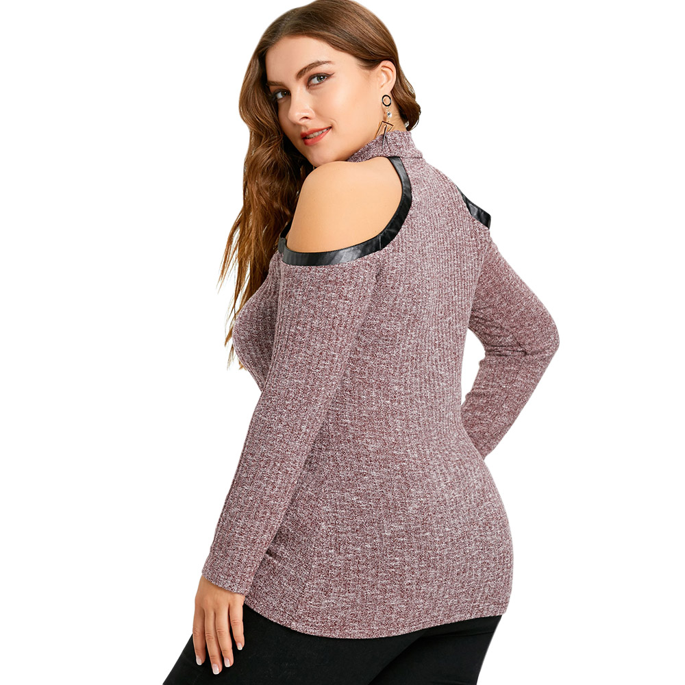 c65dc9dc86e94 Gamiss Plus Size 5XL T Shirts Cold Shoulder Lace Up Keyhole Knitwear  Pullover Women Tops Casual Winter Big Size-in T-Shirts from Women s Clothing  on ...