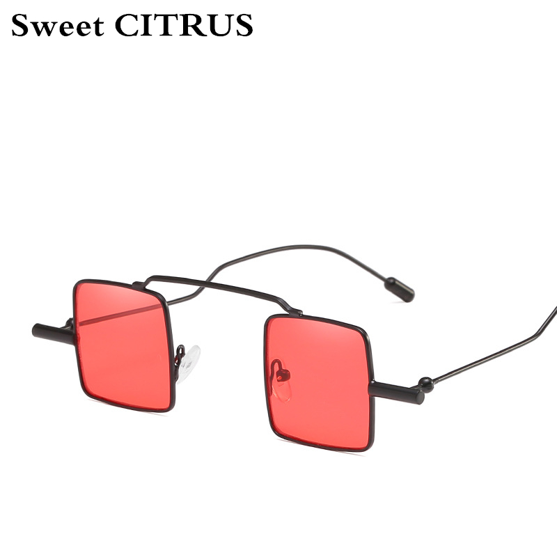 3a76650f52482 CITRUS doce pequena praça óculos de sol Das Mulheres Dos Homens Do Vintage  retro Steampunk Óculos de Sol Senhoras uv400 Metal Frame Claro Vermelho  rosa 2018 ...