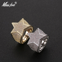 Missfox Full Lab Diamond Five pointed Star Ring Hip Hop Finger Rings For Men Bling Gold Silver Jewelry Optional Size 7 12 Ring