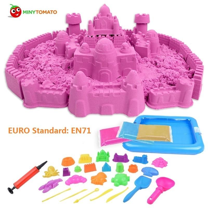 Offre spéciale haute qualité 1000g dynamique magique sable et 50 pcs moule outils incroyable bricolage jouets éducatifs sans gâchis jouets d'intérieur pour enfants