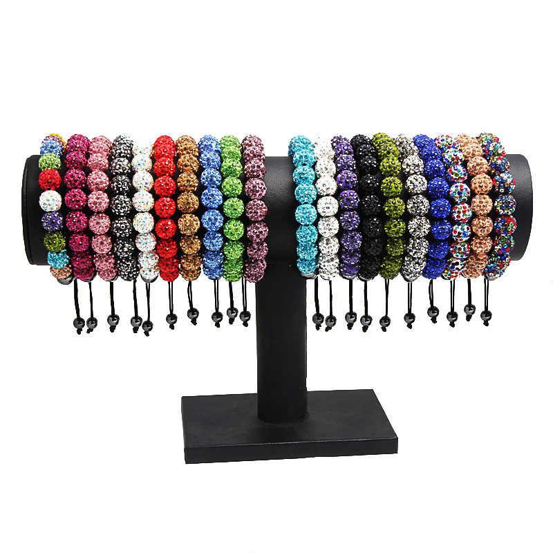 Браслет макраме плетеный 10 мм диско шар бусины микро проложить кристалл оптовая продажа Шарм для женщин мужчин карамельный цвет