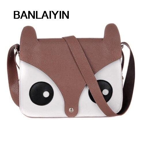 WholeTide 10* Dark Brown Korean Cute Pu Leather Retro Owl Fox Bag Messenger Crossbody Handbag