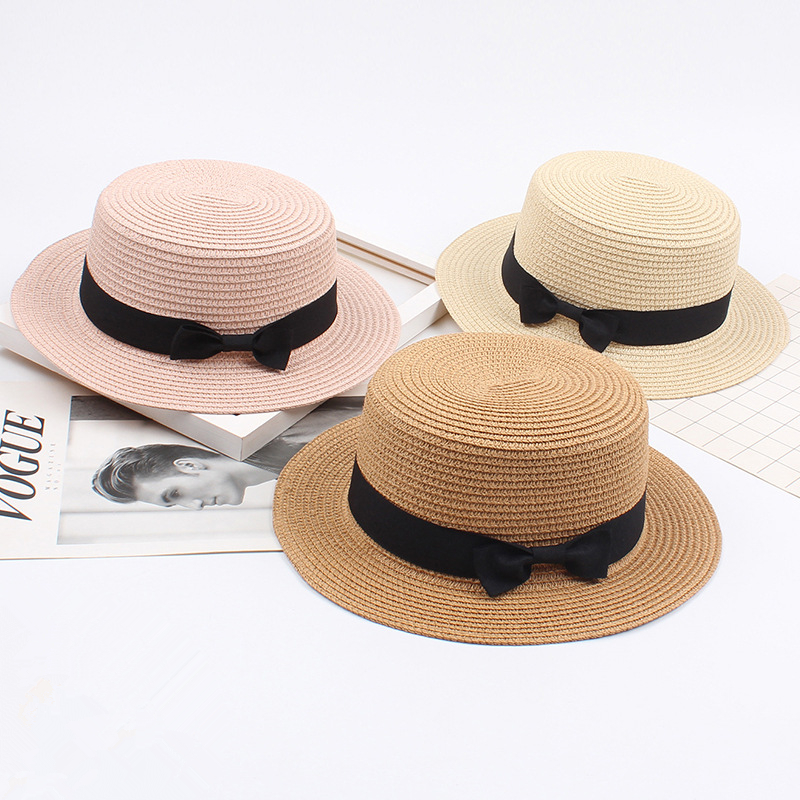 2019 Women Summer Hat Beach Straw Hat Panama Ladies Cap Fashionable Handmade Casual Flat Brim Bowknot Sun Hats for Women