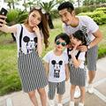 2016 Family Matching Outfits Summer Family Look Matching Clothes Mother Daughter Bib Dress Cartoon Mouse Clothes Set Plus Size