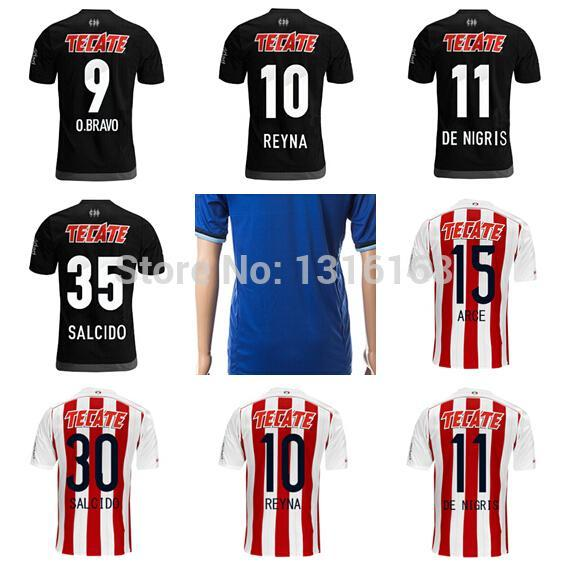 0b2696436 Guadalajara Jerseys Soccer Mexico Chivas Football Shirt 15 16 10 Angel  Reyna Jersey 9 Omar Bravo 11 De Nigris 15 Arce 30 Salcido