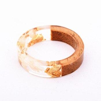 Handmade Flowers Wood Resin Ring10