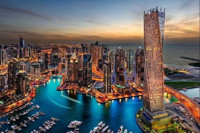 Dubai Uae Edificios Rascacielos Vista Nocturna Ciudad Cartel Tela De