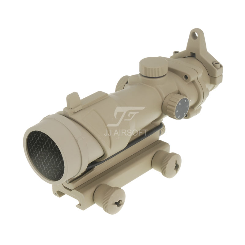 JJ Airsoft ACOG 1x32 Red Dot with Killflash / Kill Flash (Tan) jj airsoft micro 1x24 red dot with killflash kill flash