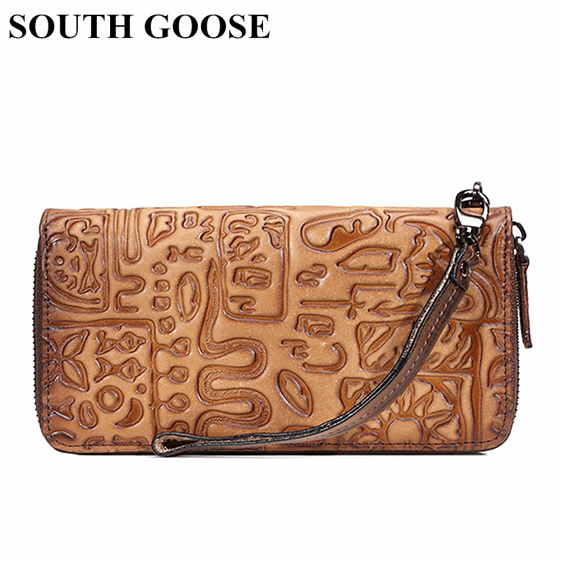 SOUTH GOOSE Genuine Leather Wallets Men's Long Clutch Bag Ancient Graphic Writing Embossing Large Card Holder Female Money Bag image