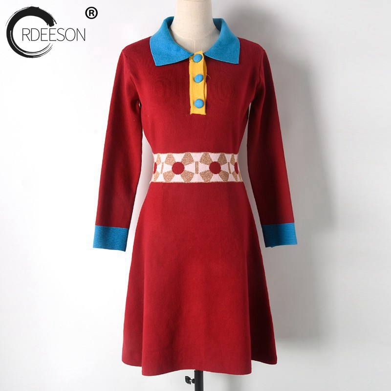 ORDEESON Sweater Dress Notched Christmas Sweater Dresses Women Sweaters and Pullovers Jumper Knitted 2017 Ladies Button Up Red