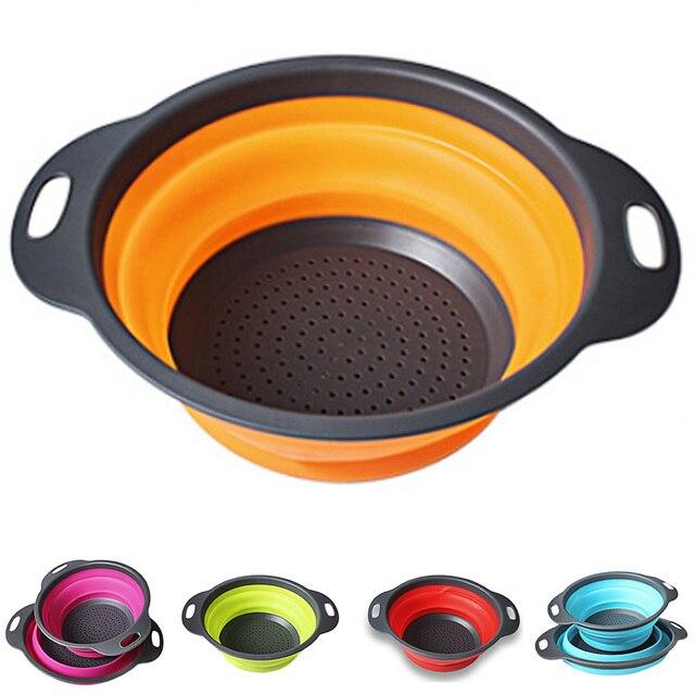 2 PCs/ Set Collapsible Silicone Colander Folding Kitchen Strainer Fruit Vegetable Strainer Kitchen Accessories 1