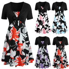 2019 Women Dress Short Sleeve Bow Knot Bandage Top Sunflower Print Mini Dress Suits sunflower print strap dress