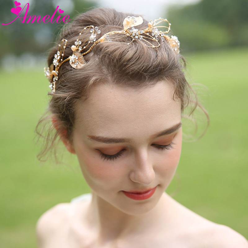 Rustic Hair Accessory Wedding Hair Vine Bridal Headpieces Gold Leaf Branch Headband For Bridesmaid Gift Jewelry