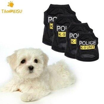 Small Dog & Cat Black Elastic Vest Police Puppy T-Shirt Coat Pet Clothes Accessories Suppliers Summer Apparel Costumes