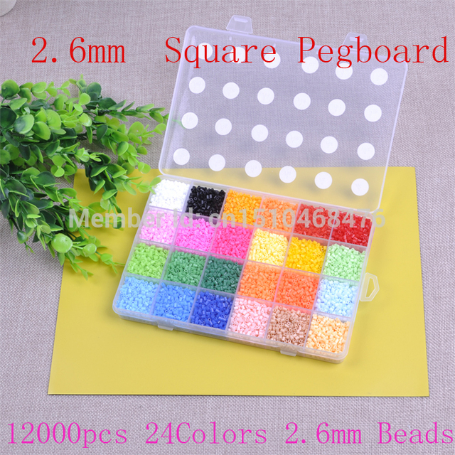 EVA 12000Beads /Box Mini Hama 2.6mm Beads 24 Colors 500/Grid Fuse Beads Educational Toys (2 Pegboards+1 Tweezers+3 Iron Paper  )