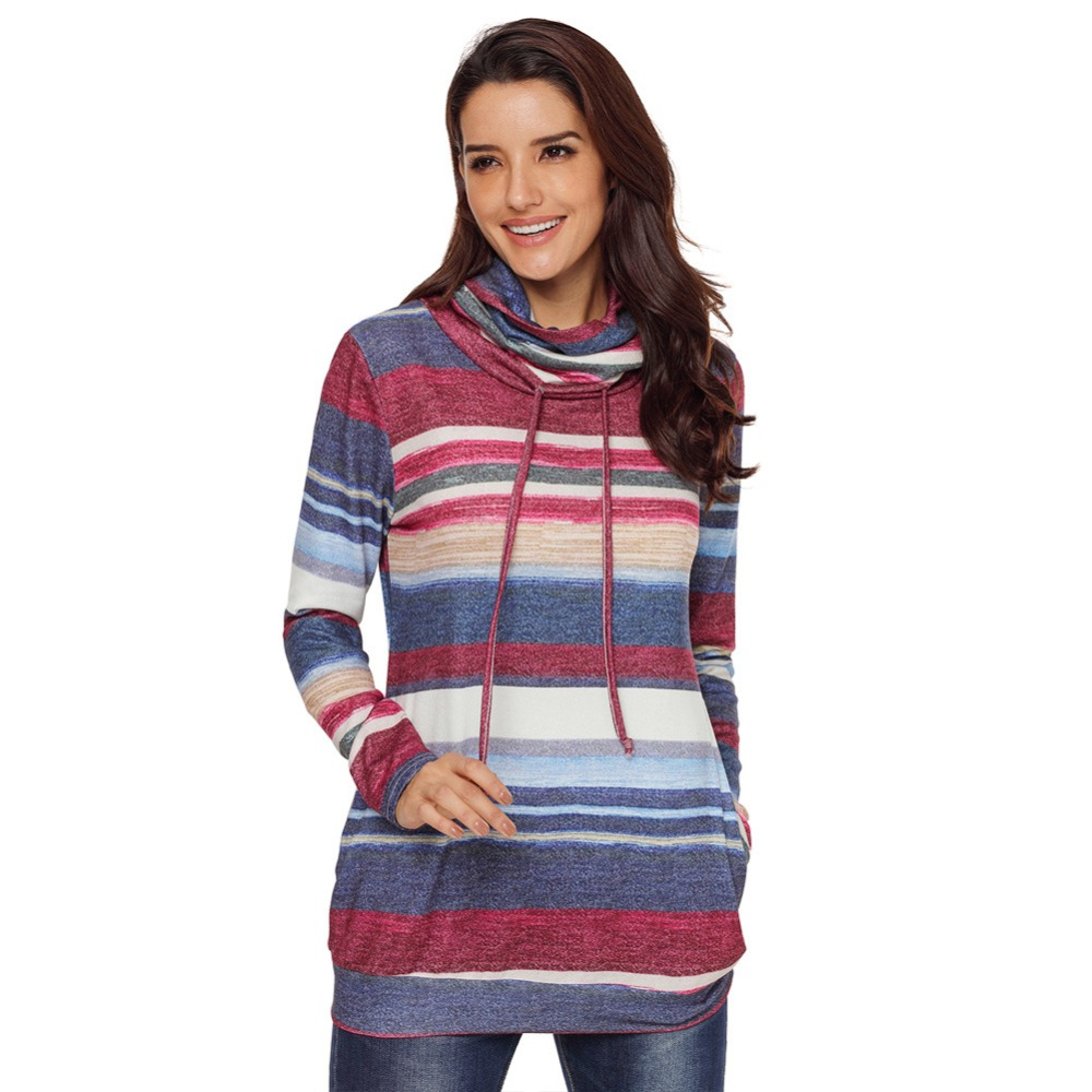 2018 Autumn And Winter New Long-sleeved Womens Striped Female Casual Clothing