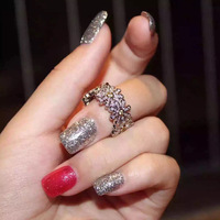 XIFAN 2018 New Austrian Crystal Jewelry Cubic Zirconia Rose Flower Wedding Rings for Women