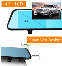 Dual lens dvr Camera HD 1080P 140 degrees Viewing Angle 4.3″ Car DVR Video Recording Blackbox Rear View Camera Rearview Mirror