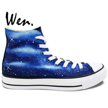 Wen Original Shoes Hand Painted Design Custom Blue Galaxy Starlight High Top Men Women's Canvas Sneakers for Birthday Gifts