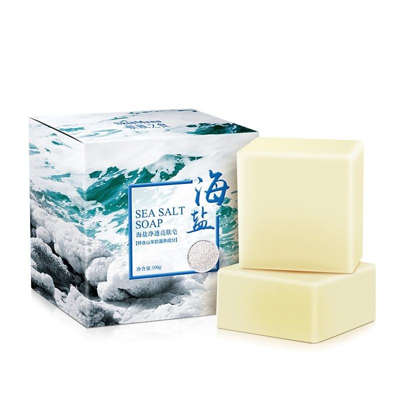 New 100g Sea Salt Clear Soap Handmade Pimple Pores Acne Treatment Soap Goat Milk Moisturizing Face Wash Skin Care Products New