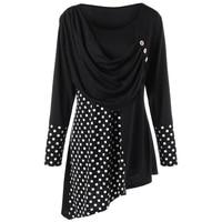 CharMma 2018 Spring Plus Size 5XL Polka Dot Ruched Asymmetric Top Women Autumn Long Sleeve Female