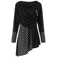 LANGSTAR 2018 Spring Plus Size 5XL Polka Dot Ruched Asymmetric Top Women Autumn Long Sleeve Female