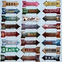 Ресторан, пляж, пивной бар, кофейная стрела, металлические неровные оловянные вывески, рекламная доска, настенный паб, домашний декор, 42X10 см,...