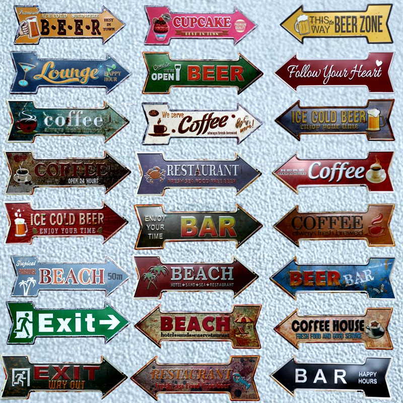 Restaurant Beach Beer Bar Coffee Arrow Metal Irregular Tin Signs Advertising board Wall Pub Home Art Decor 42X10CM U-13