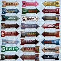 Restaurant Beach Beer Bar Coffee Arrow Metal Irregular Tin Signs Advertising board Wall Pub Home Art Decor 42X10CM U-13