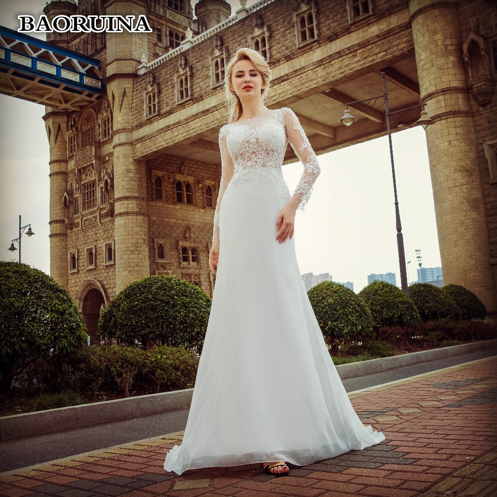 Exquisite Wedding Gowns: Dressv Appliques Lace Wedding Dress Backless Cathedral
