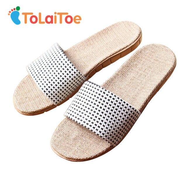 b4a7ce1bab1 ToLaiToe Men s New Linen Home Plaid Slipper Couples Spring Summer Cool  Sweat EVA Non-slip Comfortable Female Slipper Shoes