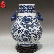 Jingdezhen Ceramics / blue and white vases ears vase porcelain barrel blessing home furnishings