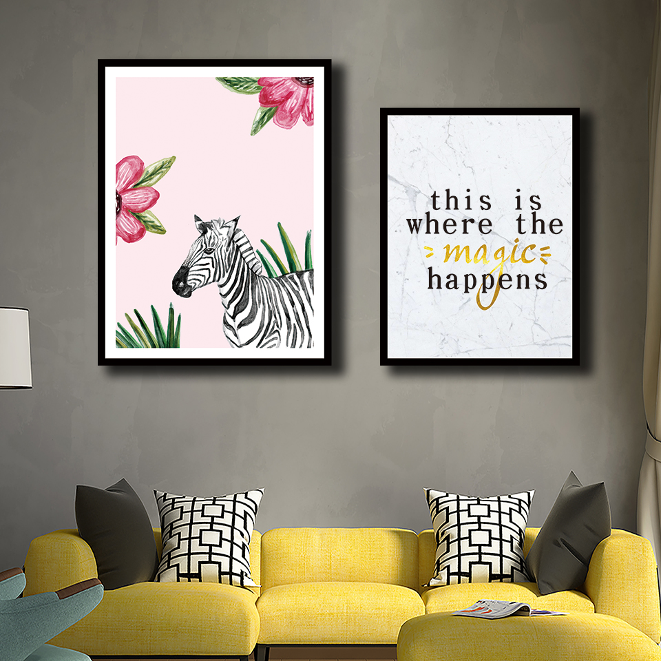 Nordic Zebra And Quotes Pictures Modern Style Watercolor Flower Poster Print Canvas Fashion Painting Home Decor Office Wall Art image
