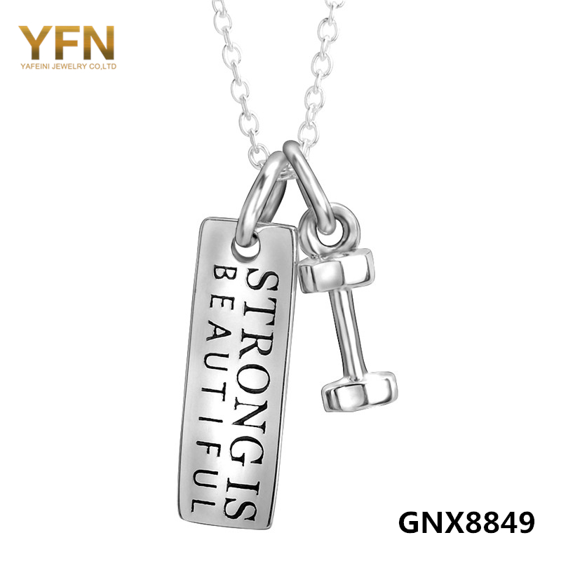 Strong Is Beautiful 925 Sterling Silver Pendant Necklace Fitness Jewelry Silver Tag and Dumbbell Two Tone