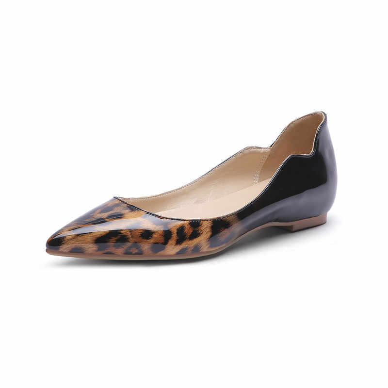 COCOAFOAL Luipaard Print vrouwen Platform Schoenen Wees Teen Flats Lente Herfst Ondiepe Platform Ballet Schoenen Plus Size 43 44 45