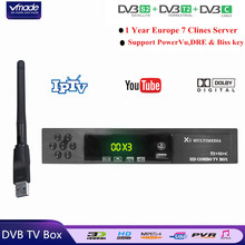 DVB-T2/S2 + DVB-C Combo HD Digital Terrestrial Satelliter TV Receiver With 1 Year Europe Cccam + USB WIFI Support Dolby AC3 IPTV vmade x3 combo dvb t2 wifi receiver dvb c dvb s2 satellite receiver powervu autoroll supports cs protocol cccam ac3 wifi iks tv