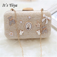 It S Yiiya Women Sales Evening Party Bag Beading Chains Luxurious Clasp Flower Dinner Fur Handbag