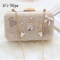 It S Yiiya Women Sales Evening Party Bag Beading Chains Luxurious Clasp Flower Dinner Fur Handbag
