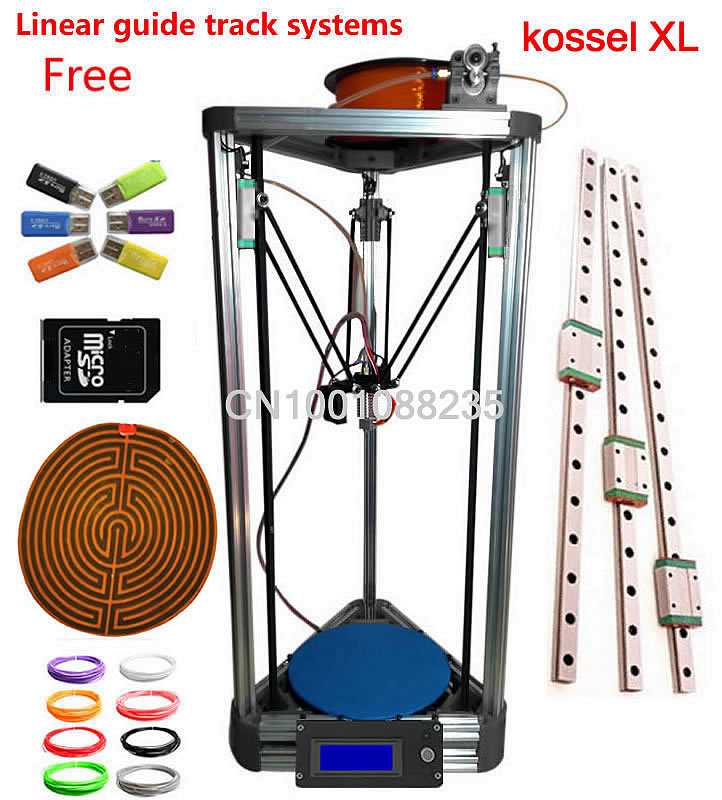 LINEAR GUIDE with heated bed XL LCD Display silver hotbed Reprap Delta Rostock kit 3D Printer k800 XL DIY 3D printer Kit