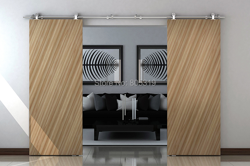 buy double sliding barn door top mount stainless steel sliding hardware wood sliding door track hardware set from