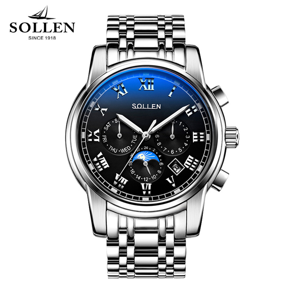 2017 SOLLEN Men's Luxury Brand Sport Mechanical Watches Moon Phase Automatic Watch Relogio Masculino Business Relojes Hombre reloj hombre 2017 luxury brand sollen men watch simple business style automatic mechanical cowhide strap watch relogio masculino