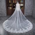 2017 New Long White Ivory Veu de noiva Wedding Accessories One-Layer Applique Edge Wedding Veil Bridal veils