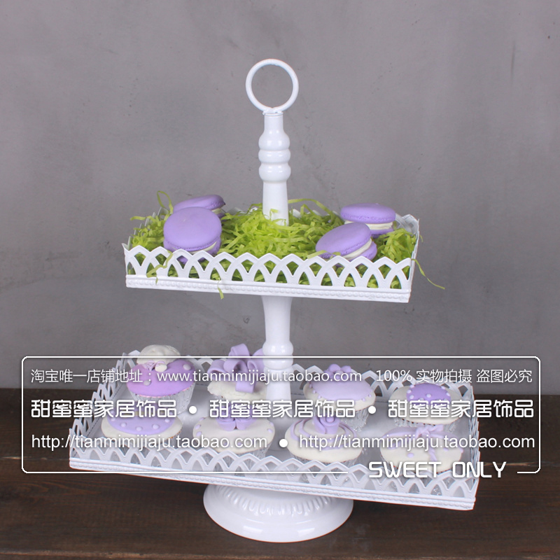 Us 59 47 Fashion Afternoon Tea Double Layer Cake Rack Wedding Props Iron Square Dim Sum Pallet Rack Tall Cake Plate In Stands From Home Garden