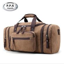 P.P.X Men's Vintage Travel Bags Large Capacity Canvas Tote Portable Luggage Daily Handbag Bolsa Multifunction Duffle Bags M623